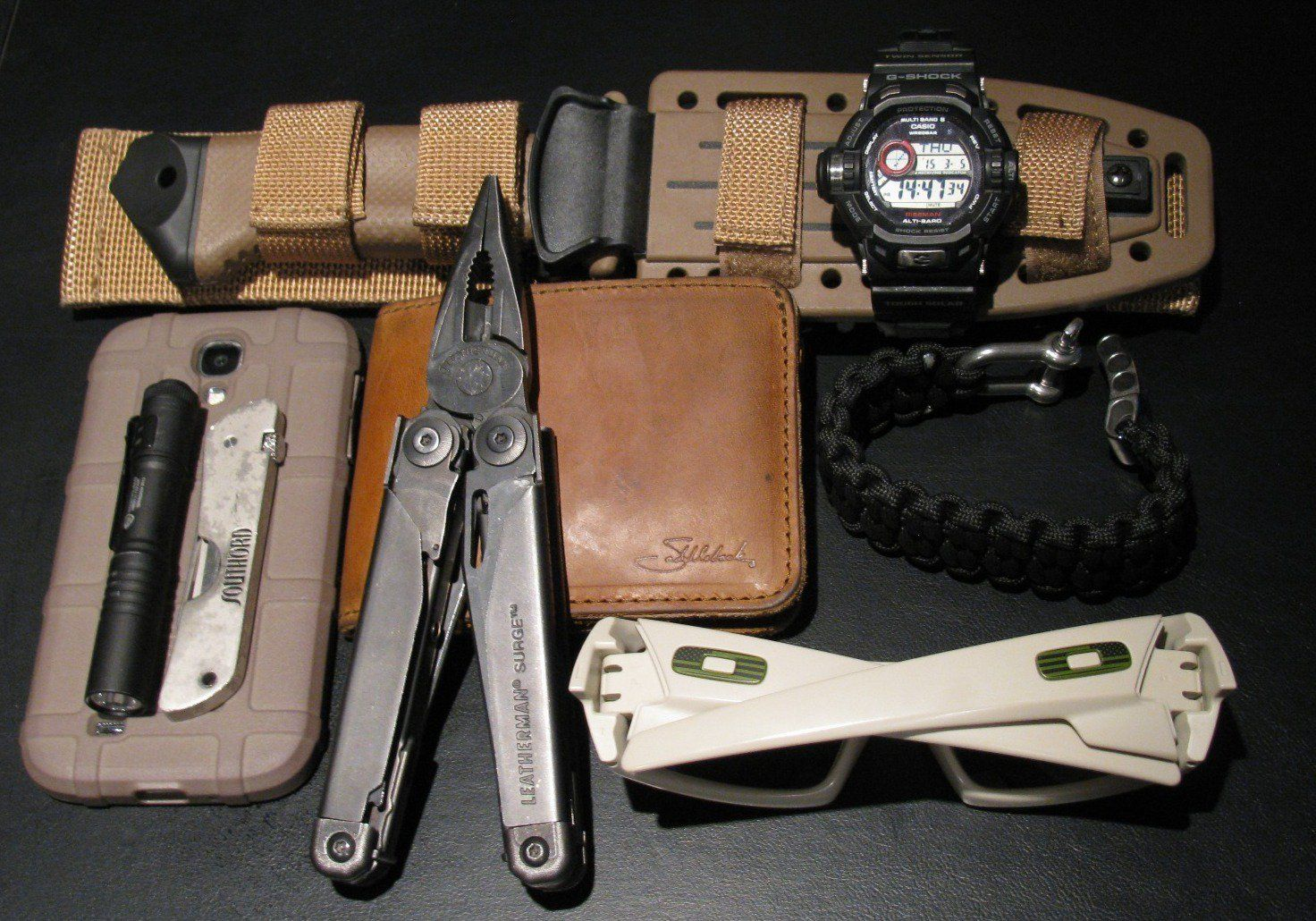 Camping, Hiking, Hunting, this carry covers it all for me. sometimes I include a lighter.