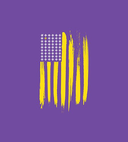 Purple And Gold American Flag T Shirt By Storyville