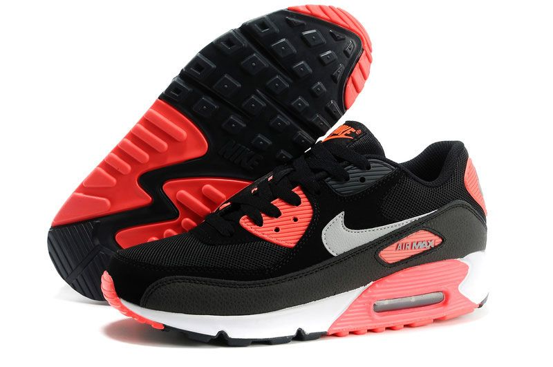 7e274735bee Men s Women s UK Nike Air Max 90 Shoes Black Red Trainers UK Sale ...