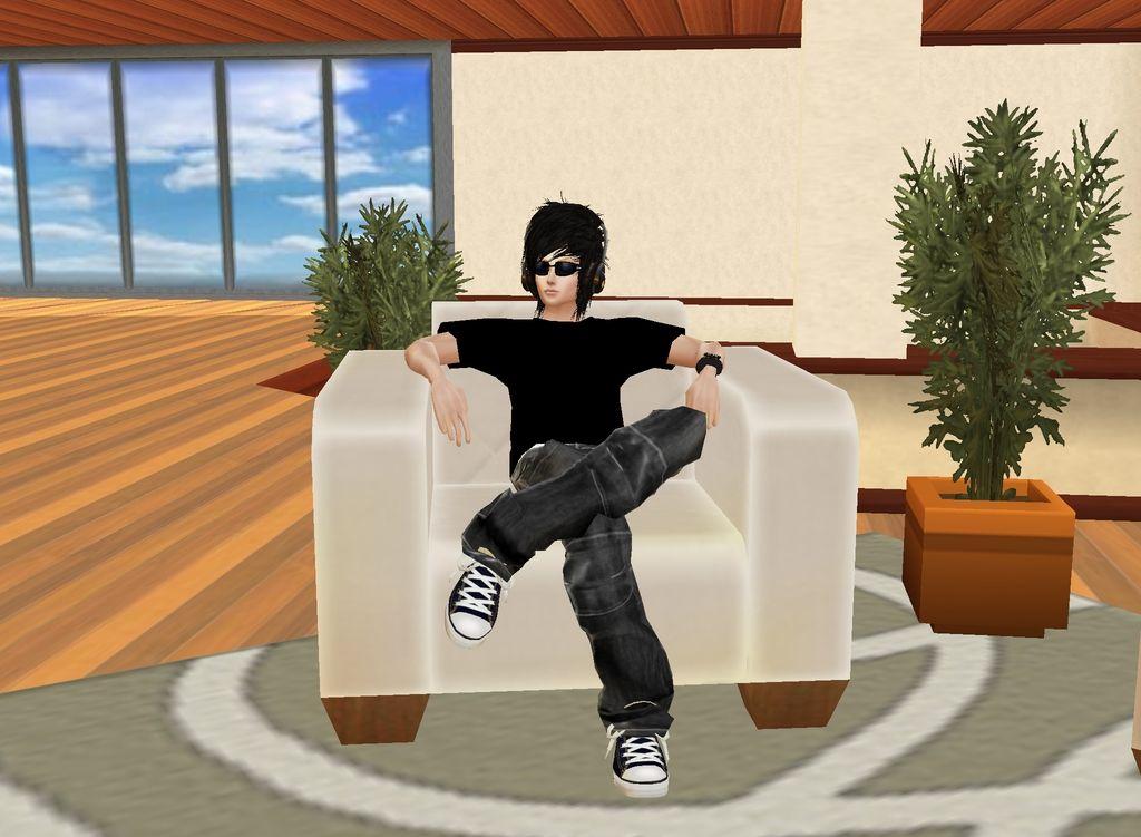 My imvu character sitting on his throne