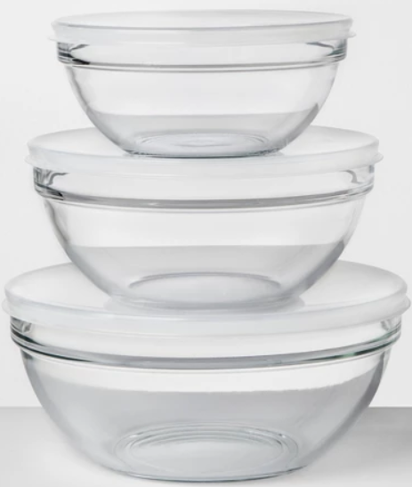 Set Of 3 Glass Covered Mixing Bowls Made By Design Bowl
