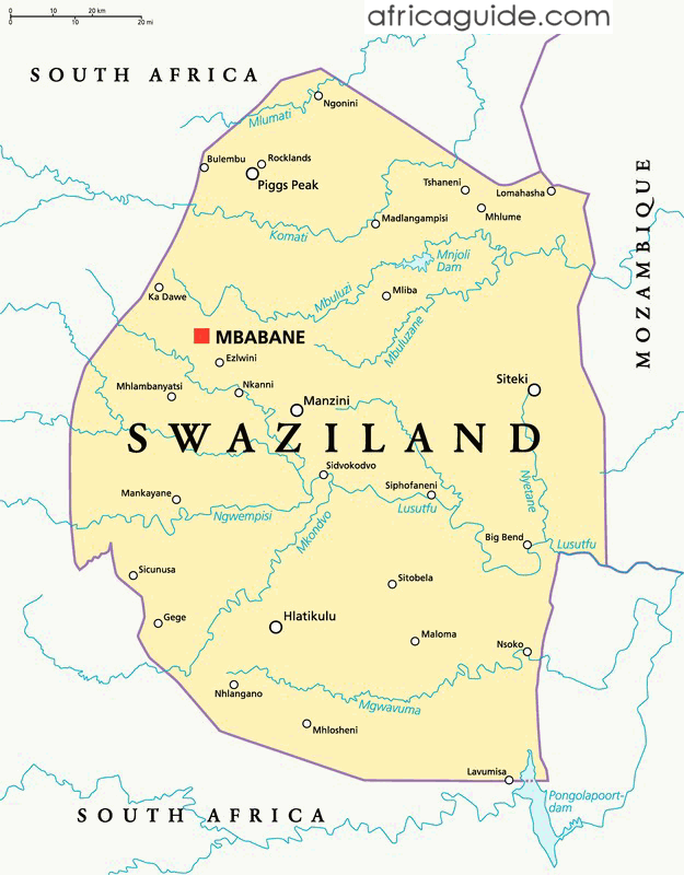 Swaziland map with capital Mbabane | Swaziland WTD in 2019 | Map