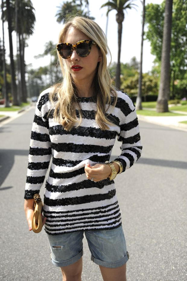 Striped sequin sweater
