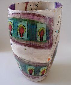 H. Drip Red, Ceramics Art, Linda Style, Ceramics Vessel.