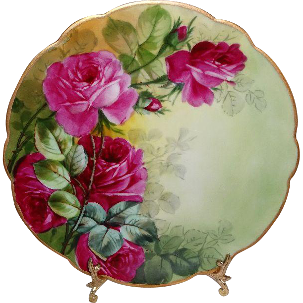 French Antique Limoges Plate with Hand Painted Roses This stunning 9 inch French plate features a romantic Victorian bouquet filled with deep  sc 1 st  Pinterest & D\u0026C Limoges France Antique Porcelain Plate with Hand Painted ...