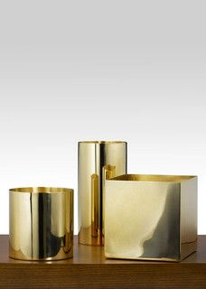 Polished Brass Cube And Cylinders   Contemporary   Vases   By Jamali Floral  U0026 Garden Supplies