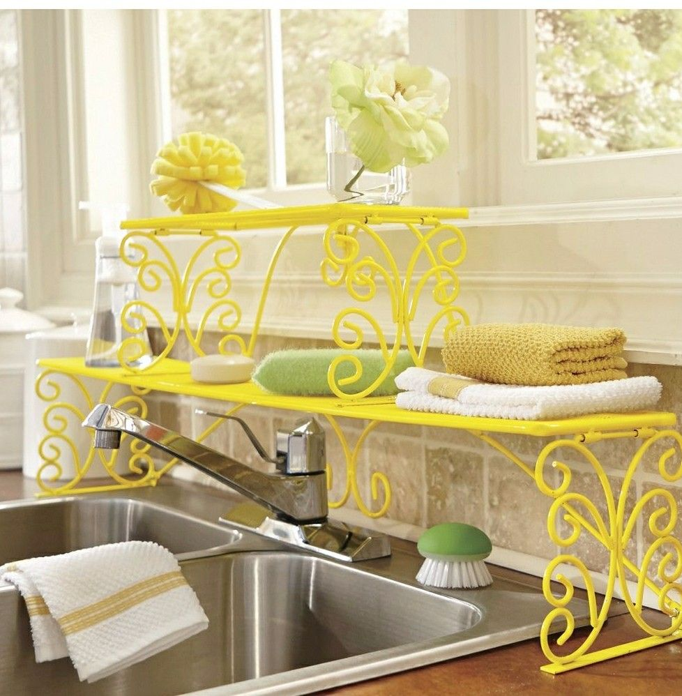 Yellow over the sink double shelf dream house yellow sunflower