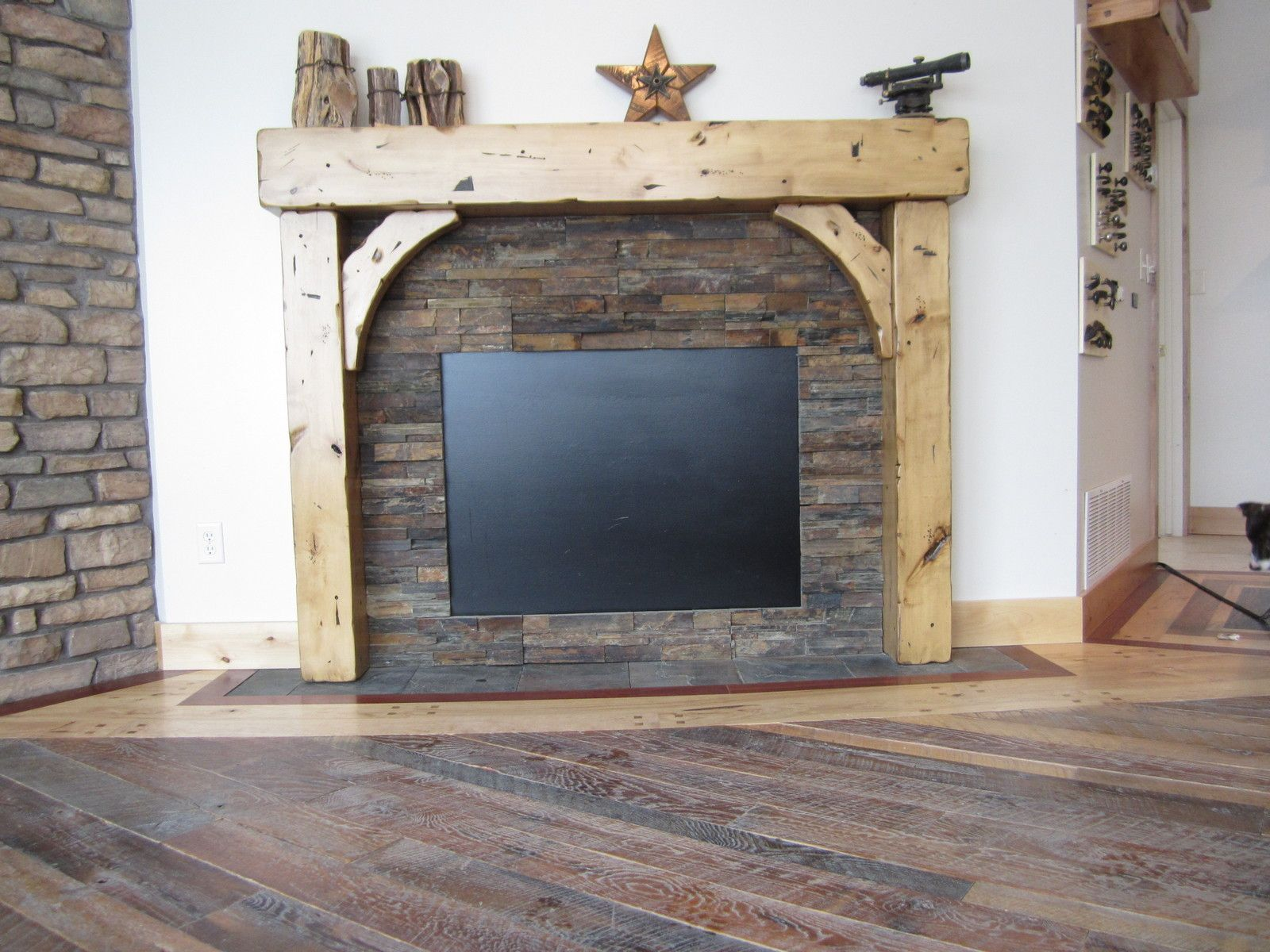 Rustic Fireplace Mantel Beam Brace Distressed Glazed Craftsman Cabin Home Cozy Ebay Home