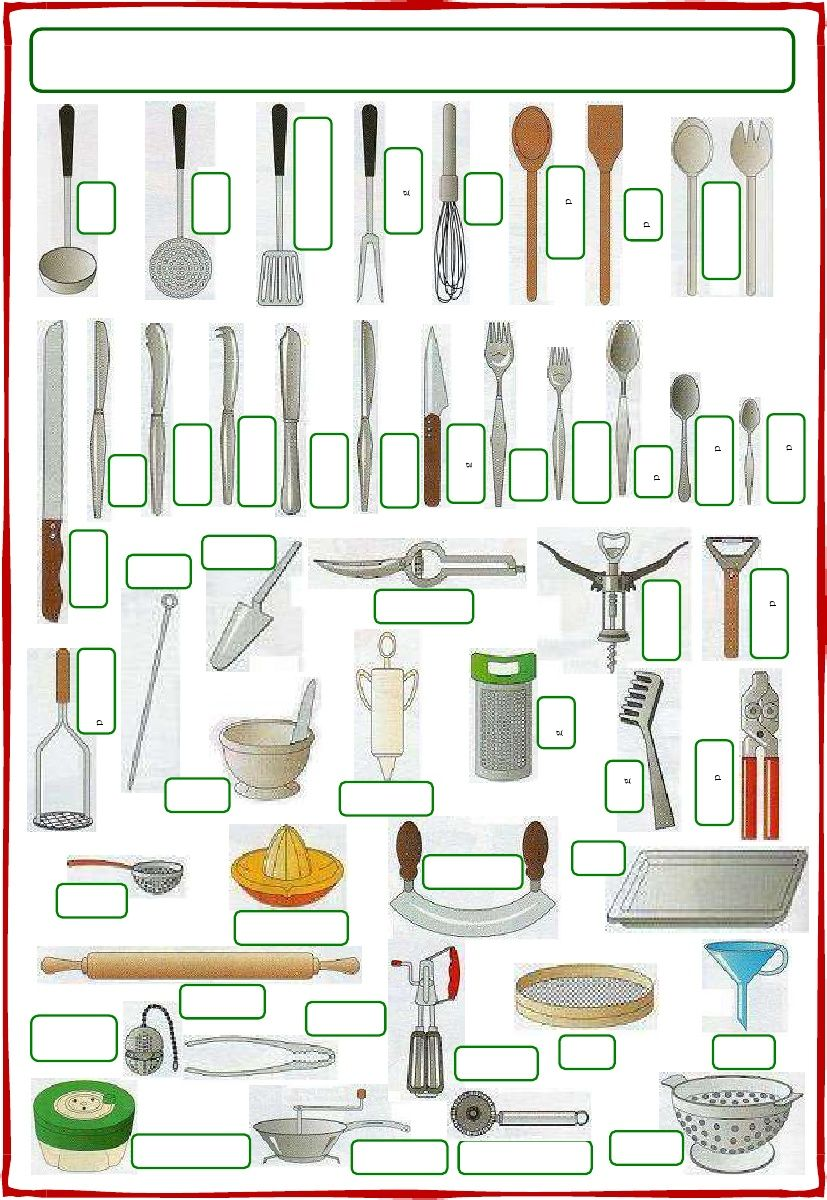 Vocabulary utensils and cutlery scribd cooking for Kitchen utensils vocabulary