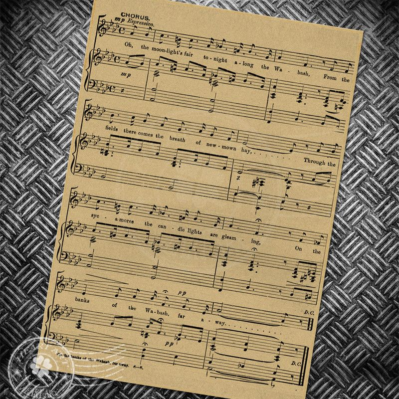 Free ship Vintage art poster Music Note Retro wall Painting Bar Cafe ...