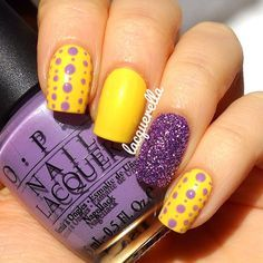 purple and yellow nail stamping