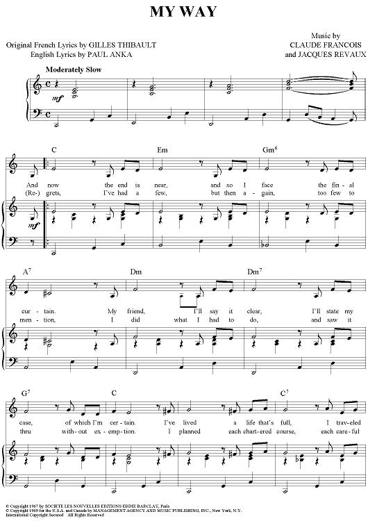 My Way Canciones Para Piano Partituras Digitales Partituras Musicales