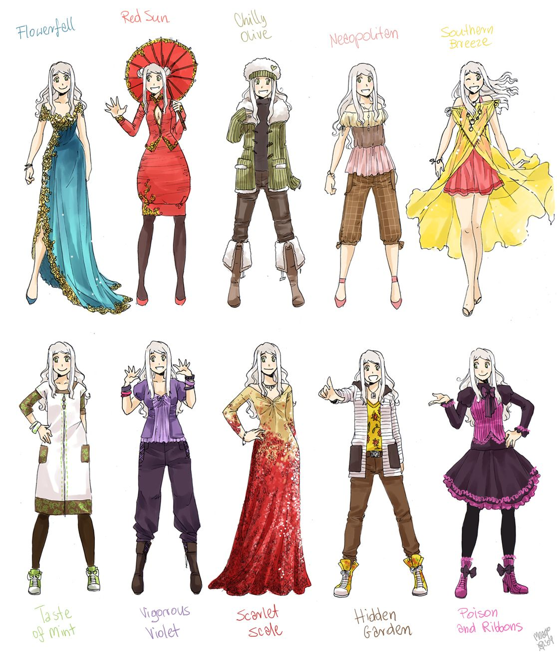 Various Female Clothes 8 By Meago On Deviantart Art Clothes Manga Clothes Anime Outfits