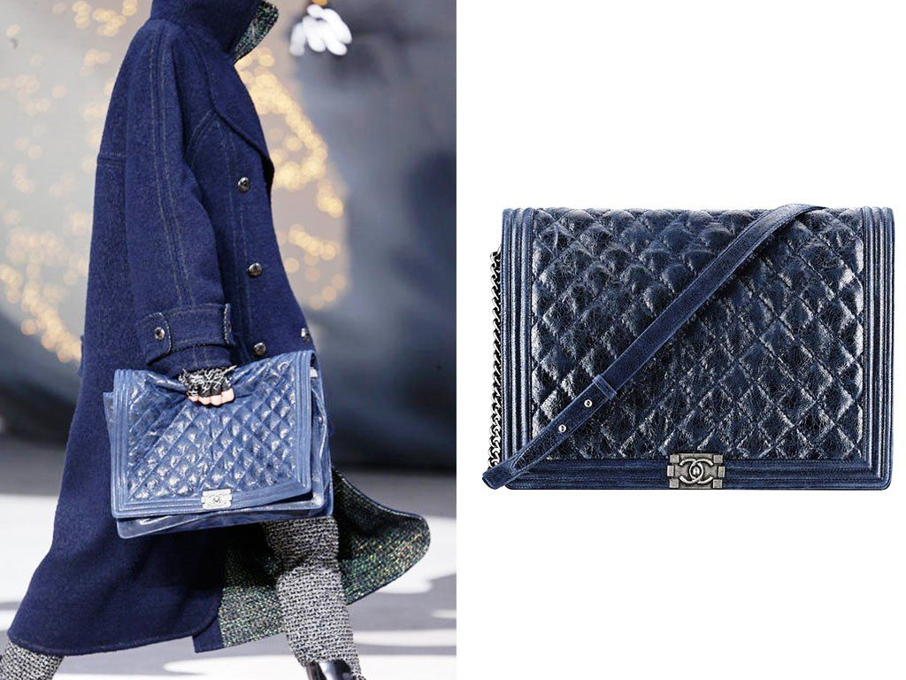 68d949c9169c Chanel Dark Blue Boy Chanel Quilted Large Bag Fall 2013 | Chanel ...