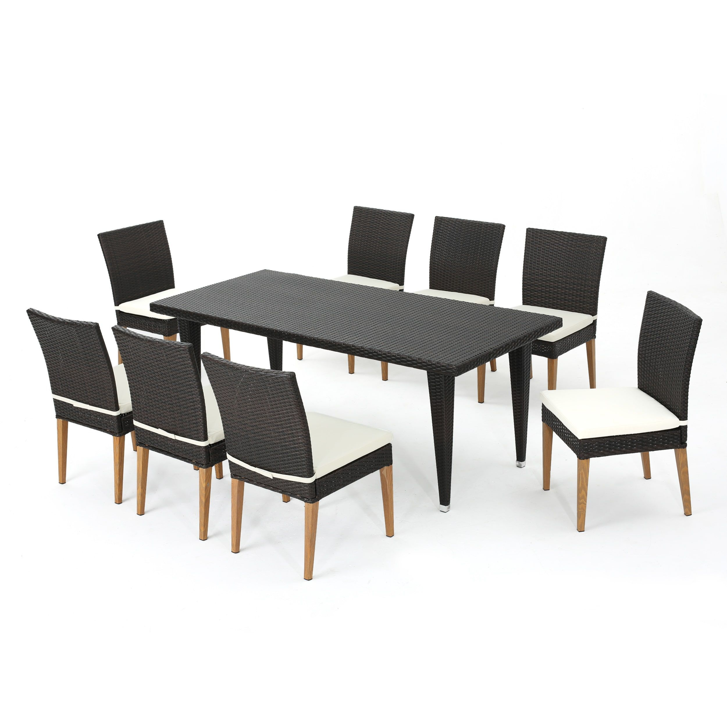 Colt Outdoor 9-piece Rectangular Wicker Dining Set with Cushions by Christopher Knight Home