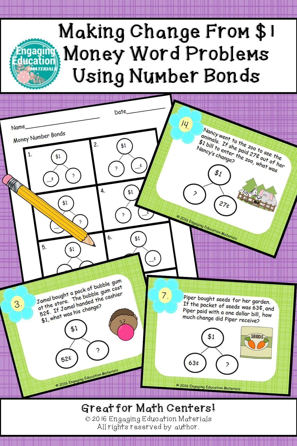 Making Change From 1 Money Word Problems Using Number