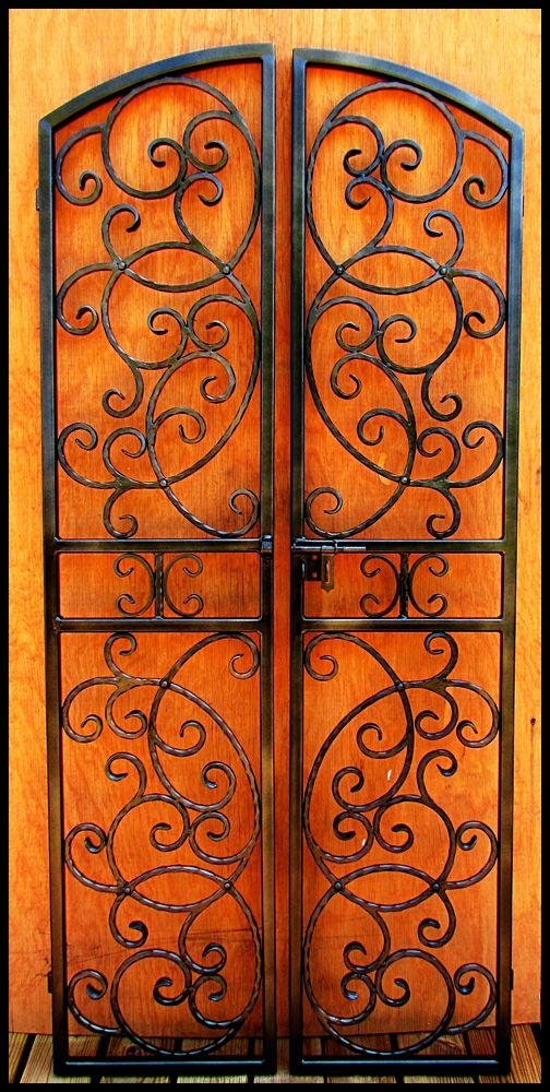 Double Iron Wine Cellar Door Scalloped Scroll Vineyard Winery Gate