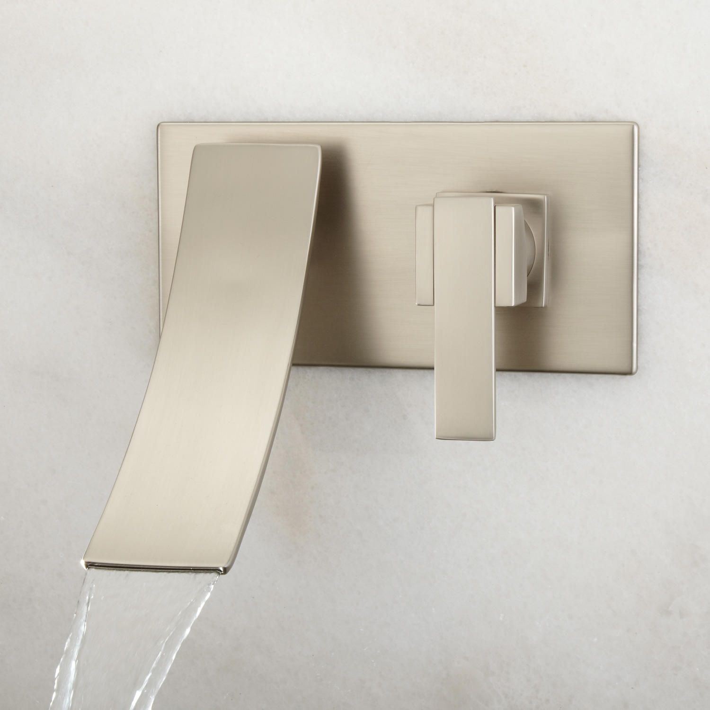 Reston Wall Mount Waterfall Bathroom Faucet   No Overflow   Brushed Nickel