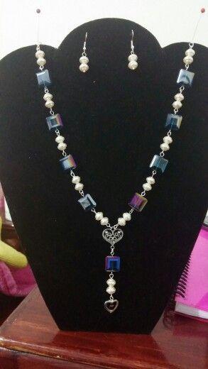 Perla y cristal cuadrado