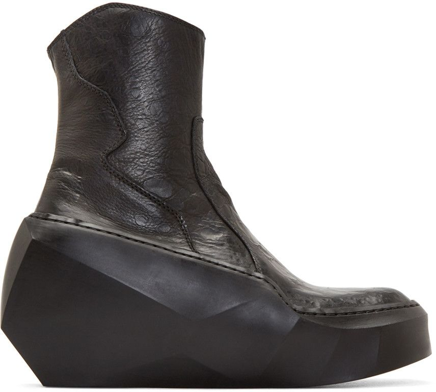 Julius - Black Sculpted Heel Ankle Boots