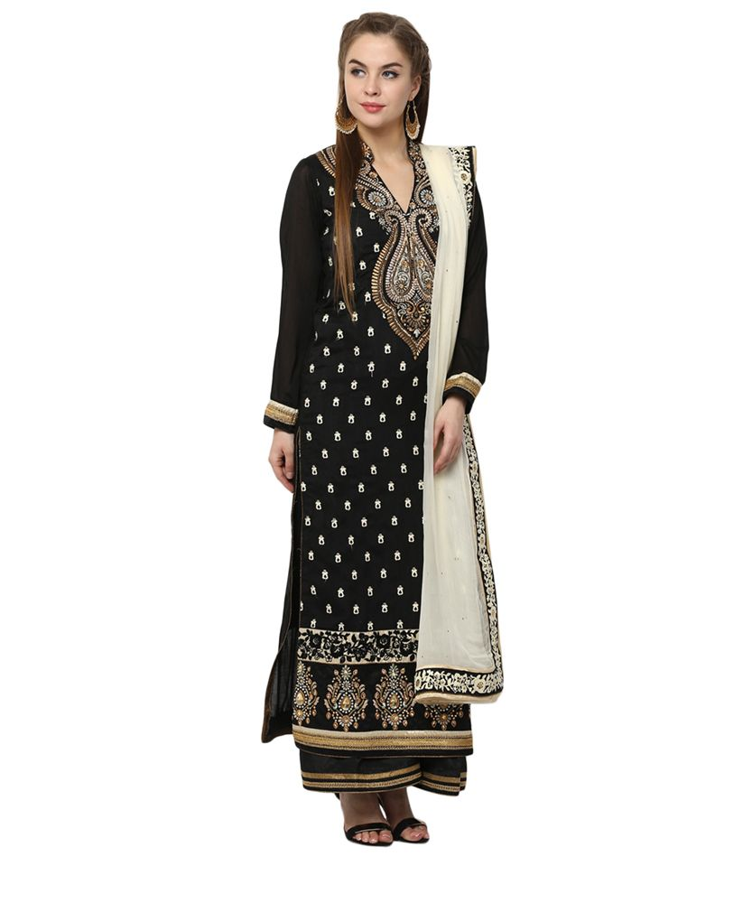 Yepme Azra Unstitched Suit - Black               #ethnicwear #suitset #embroidery #long #kurti #golden #lace #black #palazzo offwhite #dupatta #stole #partywear #designer #outfit