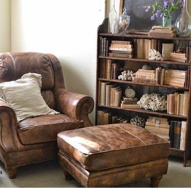 Leather armchair and foot rest