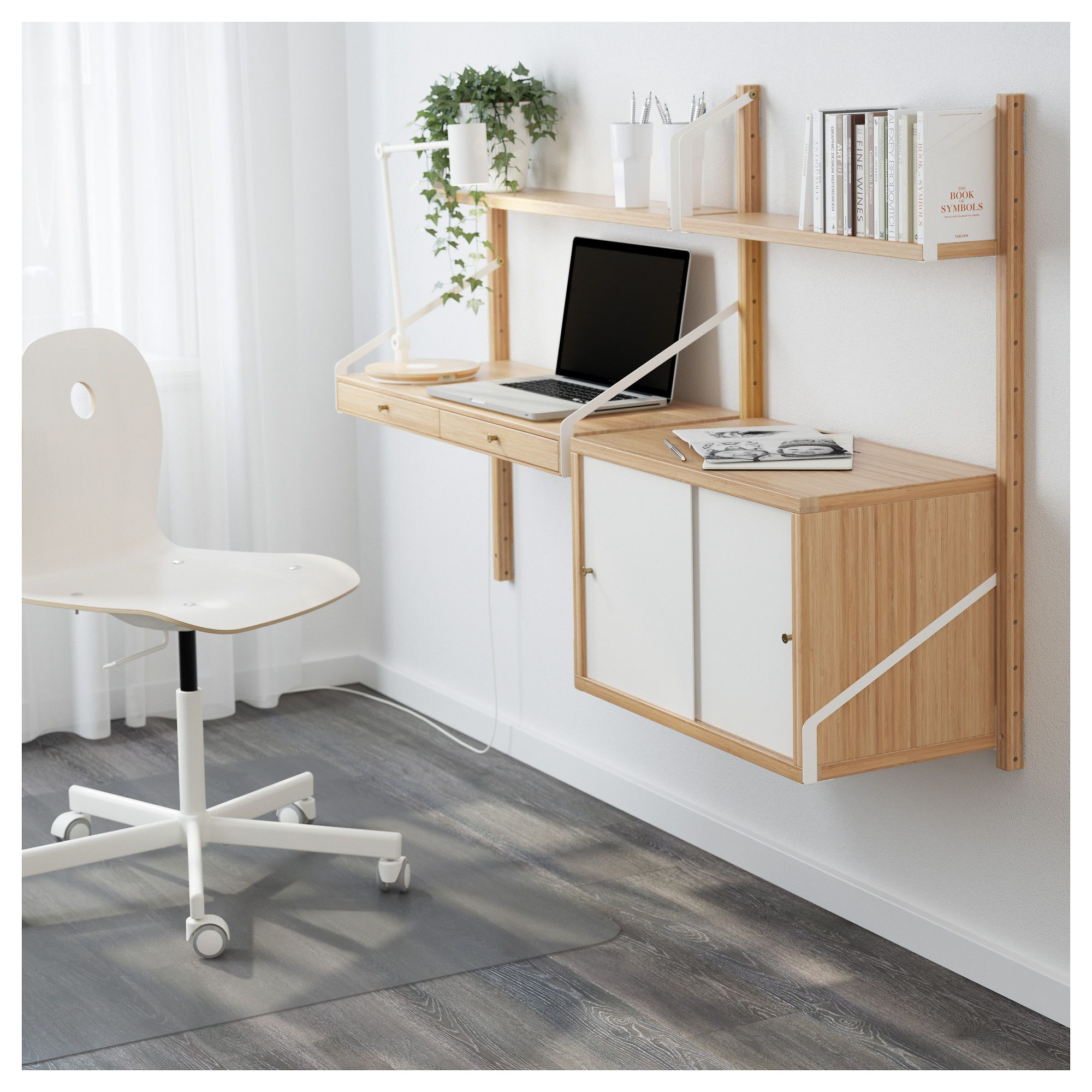 svaln 196 s wall mounted workspace combination bamboo white