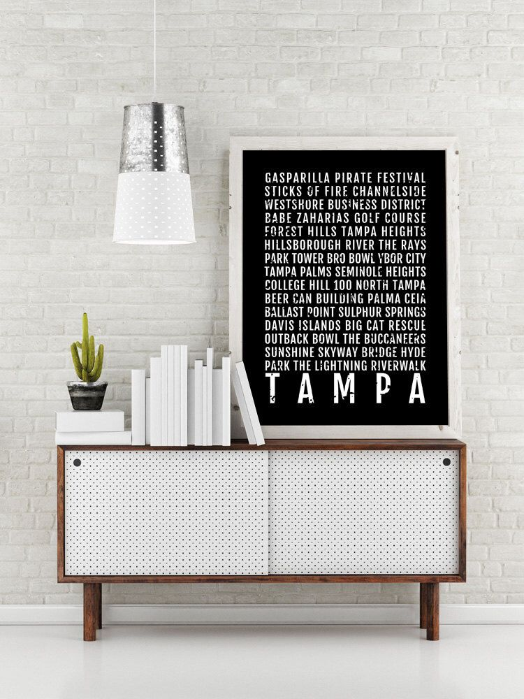 Tampa Print Subway Sign Poster Florida Wall Art Décor Canvas Gift Bus Scroll Typography Minimal Custom Personalized By Sproutjam On Etsy