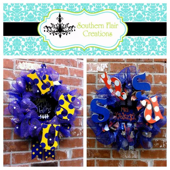 Our spirit shop wreaths make unique and wonderful gifts for Christmas or Birthdays!  Visit us on Etsy!     Custom School/Team/Gameday Mesh and Ribbon by SouthernFCreations, $85.00
