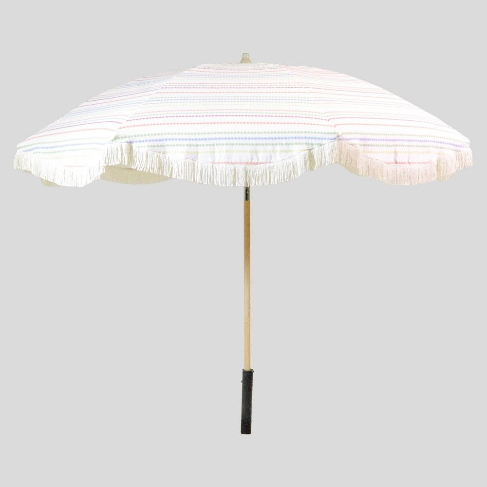 9 Brunch Stripe Scalloped Patio Umbrella White Fringe
