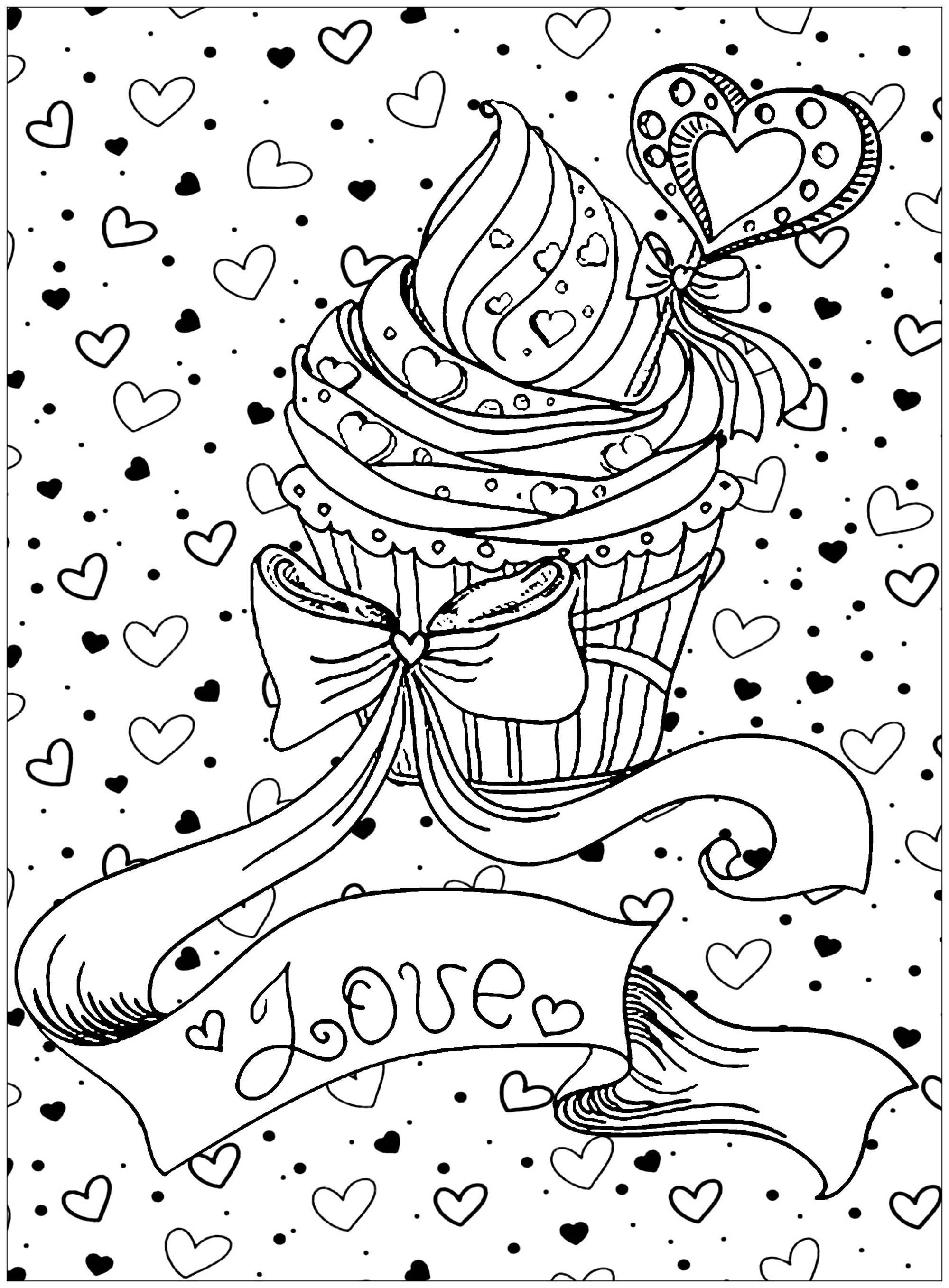 Cupcake Love Justcolor Valentines Day Coloring Page Heart Coloring Pages Love Coloring Pages