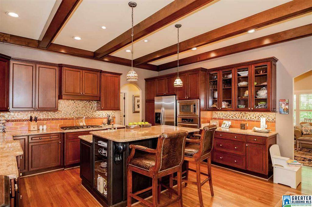 Craftsman Kitchen with Summer Beach Granite Countertop ...