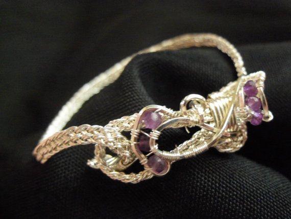 sterling silver amethyst wire woven bracelet