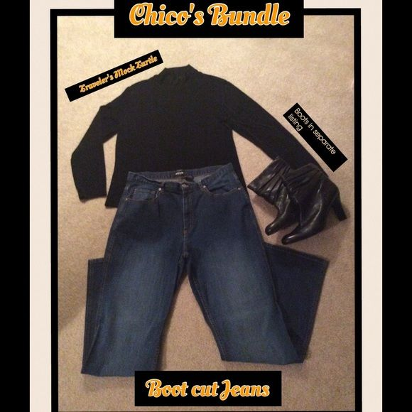 "Chico's Jeans & Top Bundle Chico's Boot Cut Jeans, some Stretch to fabric. And Black Mock Turtle Neck Long Sleeved Top in Chico's Signature ""Travelers"" Knit. Virtually wrinkle Free and Packable. I love this shirt, so much so that I have 2 of the same, so selling one. Size 2 Chico's Sizing is about 12/14 Chico's Other"