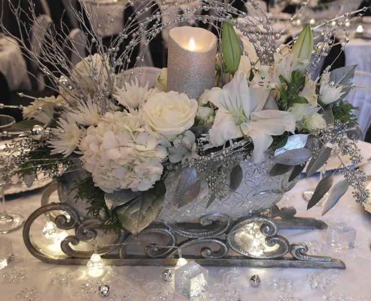 Pinterest Winter Wedding Centerpieces: Sleigh Wedding Centerpiece #winterwedding