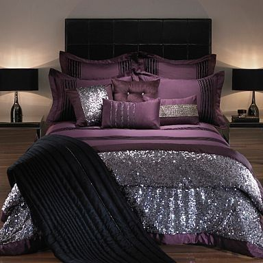 Glittery Bedroom Set Home Decor Glitter Bed Purple Silver Design