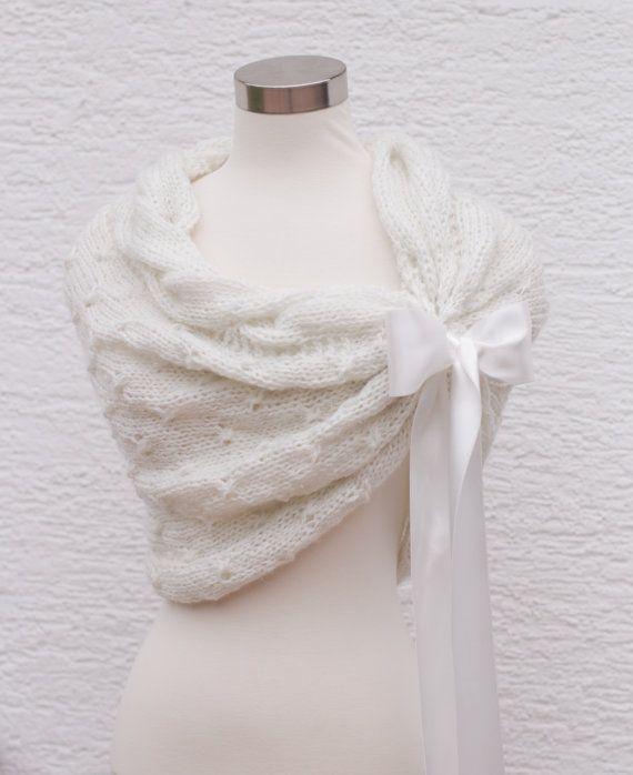 White Wedding ShawlBridal Shrug BoleroBridal by MODAcrochet