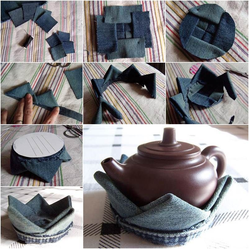 DIY Lotus Flower Teapot Coaster from Old Jeans