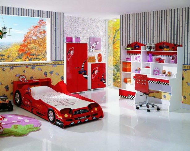 bedroom furniture for children-red car shaped bunk-red wardrobe-red