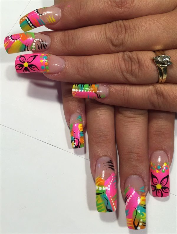 Day 170: Abstract Neon Nail Art - - NAILS Magazine - Day 170: Abstract Neon Nail Art Neon Nail Art, Neon Nails And