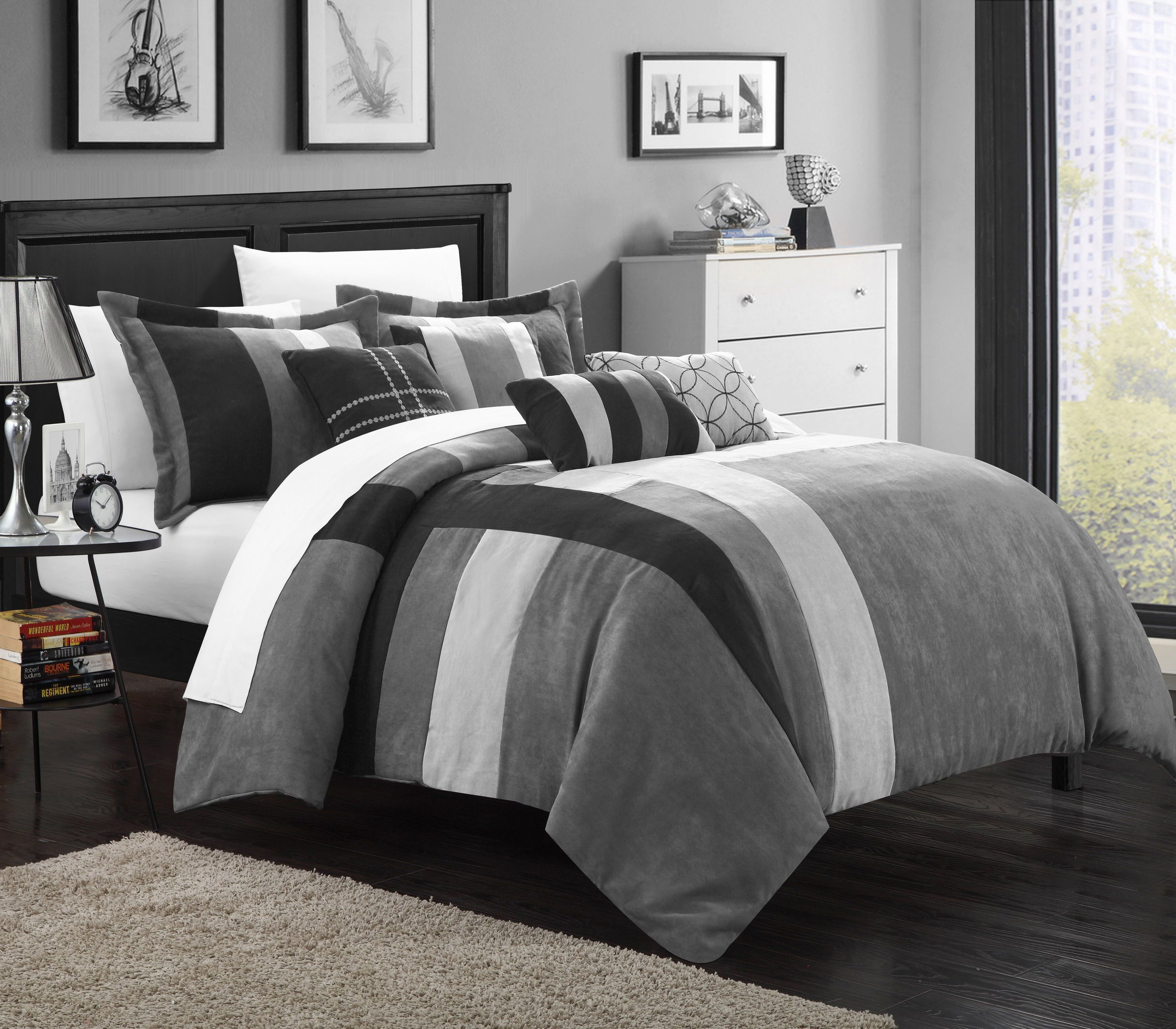 suede sleep also bed plus on astonishing grey accent bedroom and for comforters micro frame comfortable combined lace patterned cushion gray comforter satin black sham dark with set iron