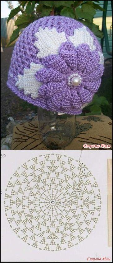 Cappello uncinetto con schema | bonnets & chapeaux | Pinterest ...