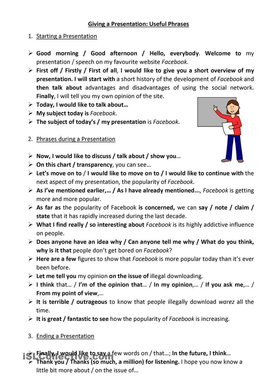 worksheet Giving Opinion Worksheet giving a presentation useful phrases english language esl efl worksheet free printable worksheets made by teachers