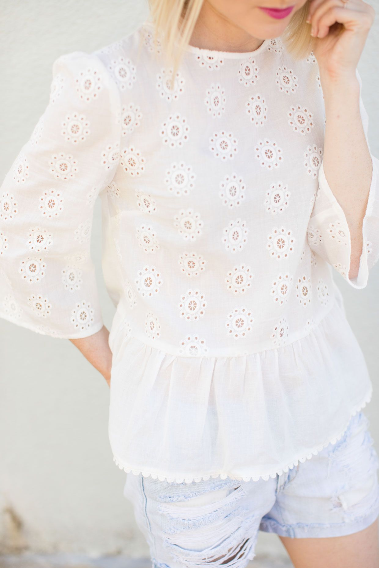 924e37b8aa19f2 White Peplum Bell Sleeve Eyelet Top | Spring + Summer Style ...