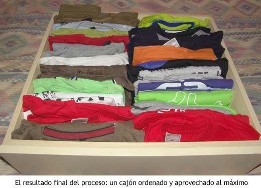 El cajón de camisetas, un vez organizado mediante el sistema geek