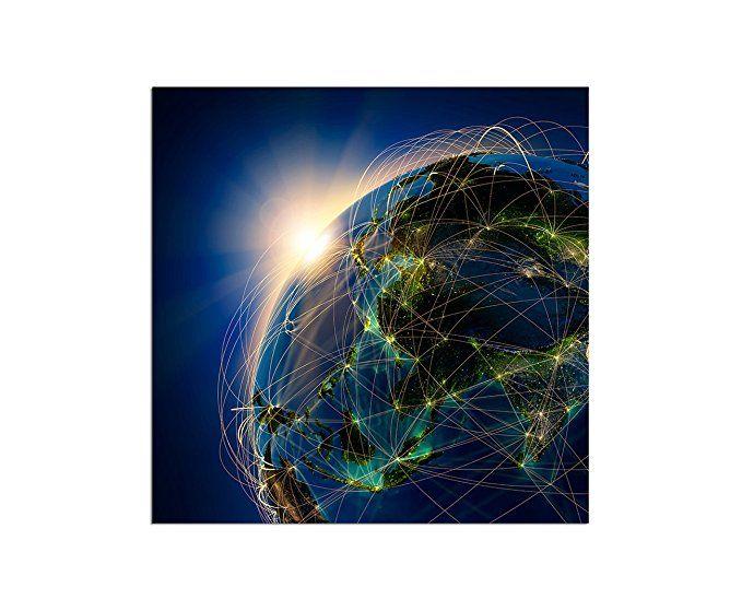 80x80cm - Fotodruck auf Leinwand und Rahmen Erde Planet Netzwerk