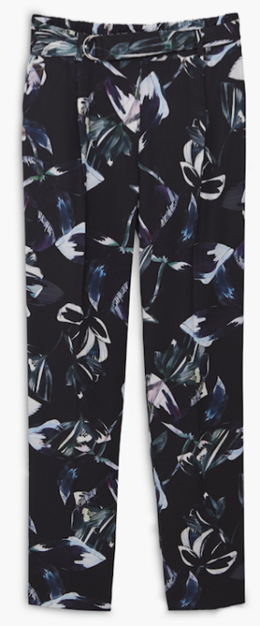 Pantalon bleu marine à fleurs bleu et grise, soldes Mango
