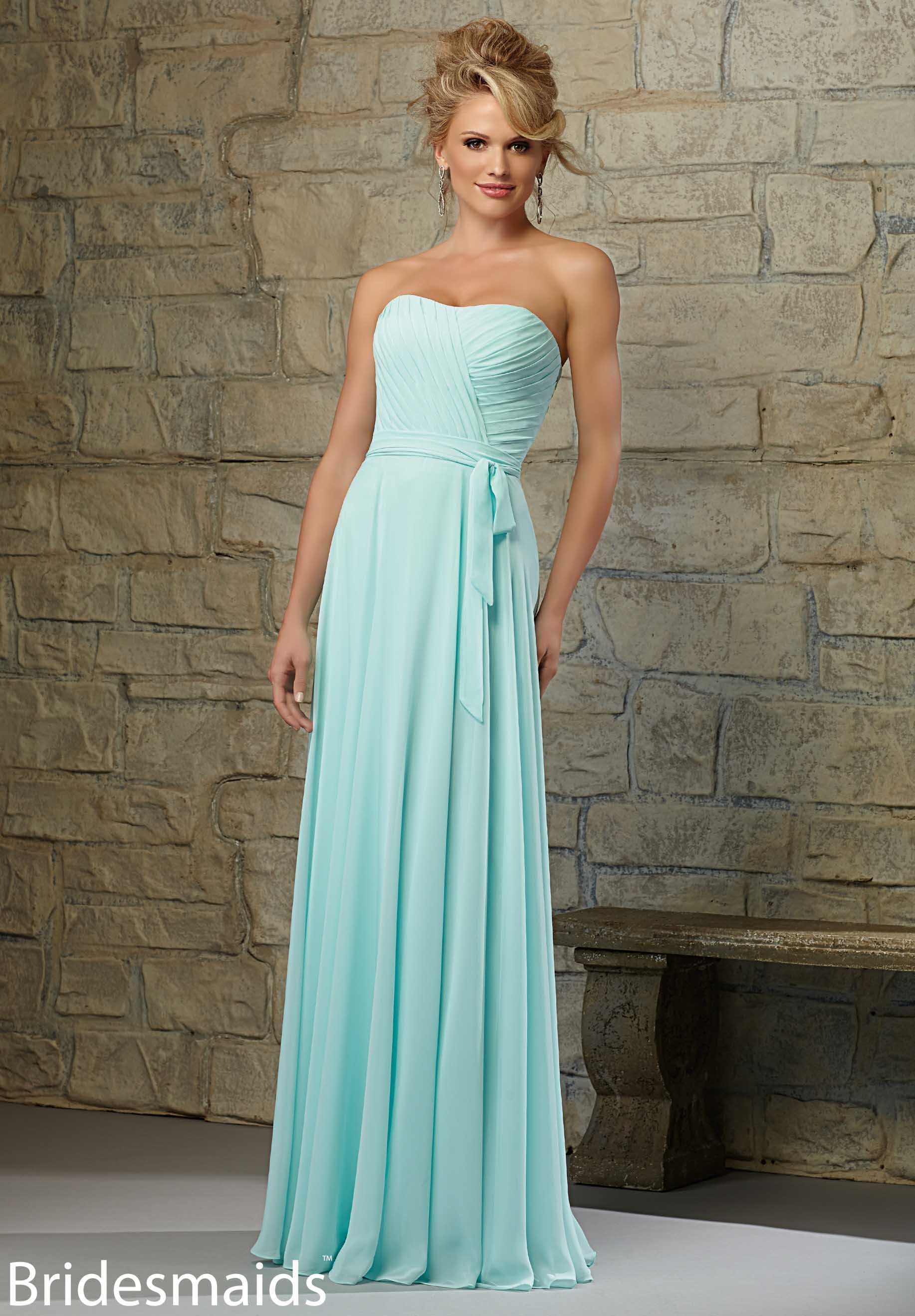 Bridesmaids Dresses Chiffon Matching Tie Sash. Available in All Mori ...