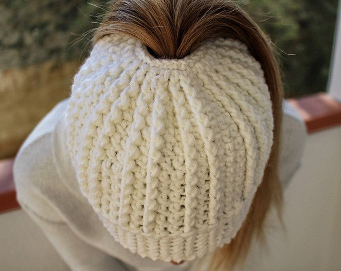 Crochet Messy Bun Beanie, Crochet Messy Bun Hat, Handmade in Italy from an awesome Etsy shop!