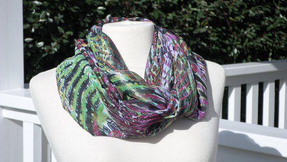 98e87c8db77b Snood écharpe tube tour du cou foulard  femme violet et vert nouvelle  collection